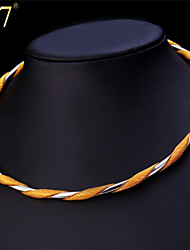U7® Unisex Two-tone Gold Plated Necklace Platinum/18K Gold Plated Women Men Jewelry Fancy Twisted Collar Necklace