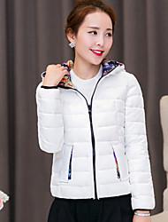 Women's Korea Fashion Print Hoodies Long Sleeve Zipper Down Coat