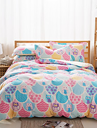 Lovely Owl Cotton Bedding Set Of 4pcs In Pink / Blue