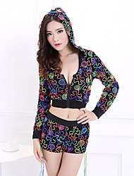 Clubwear Outfits Women's Performance Cotton/Polyester Pattern/Print 2 Pieces Black
