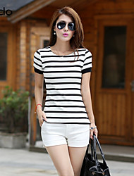 Women's Casual/Daily Simple / Street chic Summer T-shirt,Striped Round Neck Short Sleeve Multi-color Cotton Thin