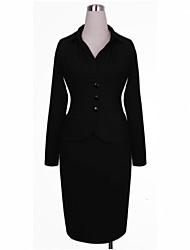 Vestidos ( Algodón )- Casual Cuello de camisa Manga Larga para Mujer