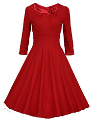 Women's Round Dresses , Cotton Blend Sexy/Party ½ Length Sleeve Paula