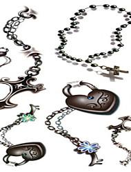 10 Pcs Heart Necklace Temp Tattoo Stickers