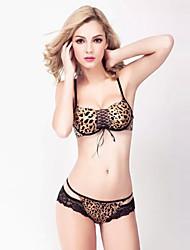 Bras Cotton 3/4 Cup Sexy Lace -up Bra Set Leopard Print
