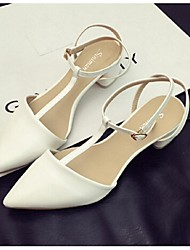 Women's Shoes Low Heel Pointed Toe Sandals Casual White/Gold