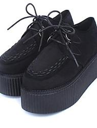 Женская обувь Ткань На платформе Криперы/С круглым носком Оксфорды На каждый день Черный/Красный