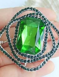 1.97 Inch Silver-tone Green Rhinestone Crystal Brooch Pendant Art Decorations