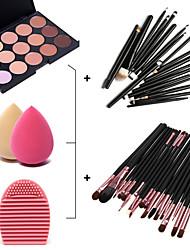 15 couleurs du visage anti-cernes palette + 20pcs pinceaux + outil de nettoyage à brosse + feuilletée maquillage beauté fondation oeuf