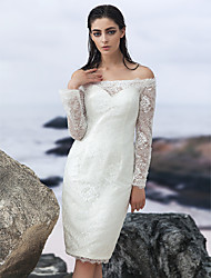 Sheath/Column Wedding Dress-Knee-length Off-the-shoulder Lace