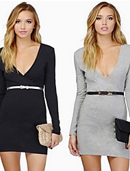 DUO.L Women's Solid White / Black / Gray Dresses , Sexy / Casual / Work V-Neck Long Sleeve