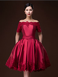 Cocktail Party Dress - Ruby / Burgundy Ball Gown Bateau Knee-length Satin