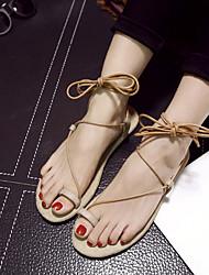 Women's Shoes Flat Heel Toe Ring Sandals Casual Black/Beige