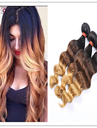 3Pcs/Lot Brazilian Loose Wave Ombre Virgin Hair Extensions Three Tone Human Hair Weft Weave Loose Wave