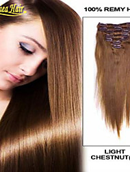 2015 new arrival Grade8A 100 human hair Straight clip in virgin indian clip in hair extensions for women in stock
