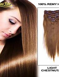 2015 nya ankomst grade8a 100 människohår rakt klipp i jungfruligt indiskt klipp i hårförlängningar för kvinnor i lager