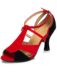 Non Customizable Women's Dance Shoes Salsa Flocking Flared Heel Red