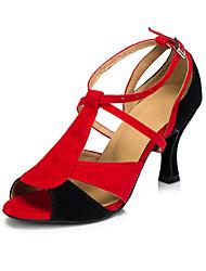 Non Customizable Women's Dance Shoes Salsa Flocking Flared Heel Red