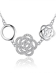 summer jewelry choker necklace 925 sterling silver Cute/Party/Work/Casual Sterling Silver Flowers Pendant Necklace