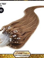 "20 ""brun cendres (# 8) 100s micro boucle remy extensions de cheveux humains"