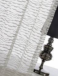 One Panel Ivory Mosaic Jacquard Sheer Curtain Drape