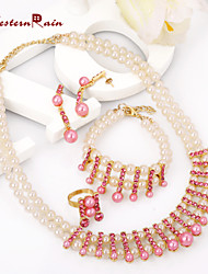 WesternRain Jewelry Europe Style pink  pearls Necklaces Bracelets Rings Inlaid stones Jewelry Sets Statement Necklace