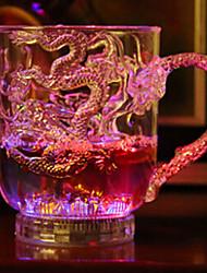 dragon_pattern_water_sensing_colorful_light_acrylic_mug_cup _-_ transparent_ (2_x_cr2025 _ / _ 300 ml)