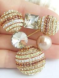 2.17 Inch Gold-tone Topaz Rhinestone Crystal Brooch Pendant