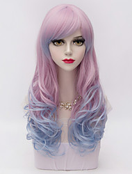 Harajuku Fashion Long  Wavy Full Bang Hair Blue&Pink Gradient Synthetic Lolita Party Women Wig