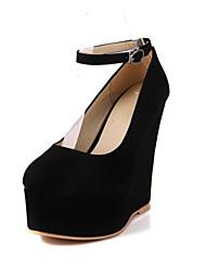 Women's Shoes Wedge Heel Wedges/Comfort/Round Toe/Closed Toe Pumps/Heels Office/Dress/Casual Black/Blue/Pink/Beige
