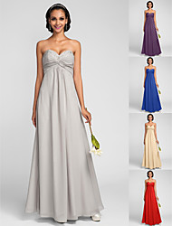 Floor-length Chiffon Bridesmaid Dress - Silver / Royal Blue / Ruby / Champagne / Grape Plus Sizes / Petite Sheath/Column Sweetheart
