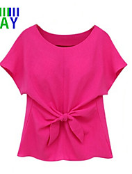 ZAY Women's Solid Round Collar Short Sleeve Chiffon Blouse with Bowknot