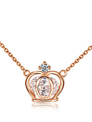 HKTC Elegant Bridal Jewelry 18k Rose Gold Plated Clear Cubic Zirconia Stone Crown Pendant Necklace