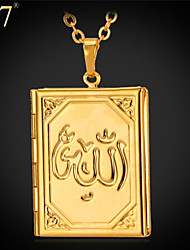 U7® Unisex Allah Floating Locket 18K Real Gold/Platinum Plated Small Size Book Photo Locket Pendant Necklace