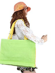 Women 's Polyester Shopper Shoulder Bag - Beige/Pink/Green