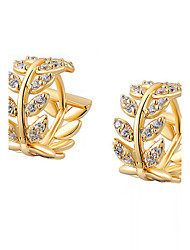 Hoop Earrings Cubic Zirconia Gold Plated Alloy Fashion Gold Jewelry 2pcs