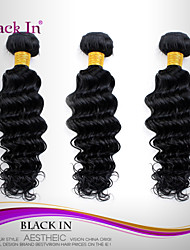 "3 Pcs Lot 12""-30"" Brazilian Deep Wave Virgin Hair Wefts Jet Black Human Hair Weaves Tangle Free"