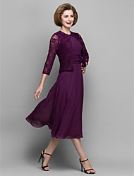 A-line Mother of the Bride Dress - Grape Tea-length 3/4 Length Sleeve Chiffon / Lace