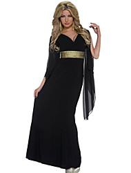 Women's Long Chiffon Sleeves Maxi Jersey Dress