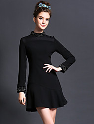 Autumn Women Europe Slim Elegant Vintage Bead Patchwork Falbala Long Sleeve Party/Casual/Work Dress