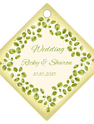 Personalized Rhombus Wedding Favor Tags - Green Design (Set of 36)