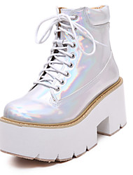 Women's Shoes Patent Leather Platform Fashion Boots Round Toe Boots Party and Dress Silver