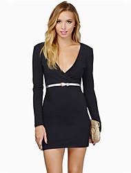 W.W.W  Women's V-Neck Dresses , Knitwear Sexy/Bodycon/Party Long Sleeve