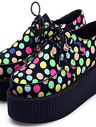 Несколько цветов - Женская обувь - На каждый день - Шёлк - На платформе - На платформе / Криперы / С круглым носком - Оксфорды