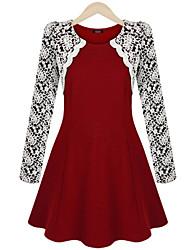 Vestidos ( Poliéster/Mezcla de Lana )- Casual Redondo Manga Larga para Mujer