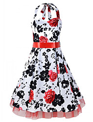 Women's Retro 50s Slim Flower Print Sleeveless Swing Party Dress