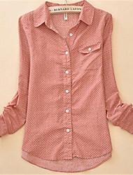 Women's Shirt Collar Shirt , Cotton Blends Long Sleeve
