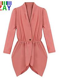 ZAY Women's Fashion V Neck Long Sleeve Waisted All Match Coat