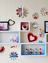 12pcs 3D Flower Shaped Wall Sticker Set DIY Home Decor Removable Room Decal (Random Color)