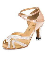 Customizable Women's/Kids' Dance Shoes Latin Satin Flared Heel Black/Red/Other